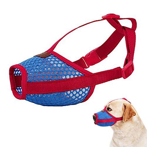 Alaof Hund Maulkorb Mesh Atmungsaktiv Hund Maske Mit Einstellbar Atmungsaktiv Schnalle,Verhindern BeißEn Kauen Gebell Weich Schnauze Hund Mund Abdeckung,blue+red,XL -