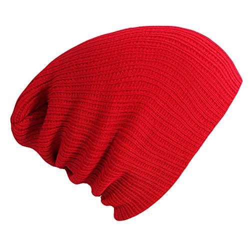 Kabel Knit Reversible Hut - Unisex Plain Knit Hat Damen Herren