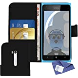 iTALKonline Nokia Lumia 900 Black PU Leather Executive Multi-Function Wallet Case Cover Organiser Flip with Credit / Business Card Money Holder and 3 Layer LCD Screen Protector