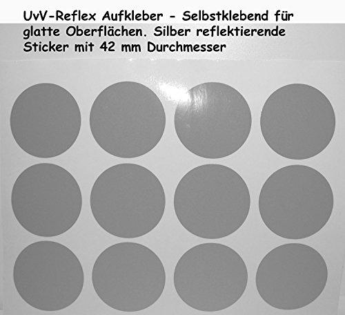 UvV-Shop Reflektoren Sticker Aufkleber, 12 Stück Ø42 mm Sicherheit durch reflektierende Folie (silber)