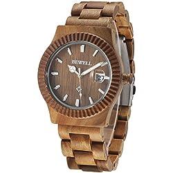 Alienwork Quartz Watch natural solid wood Wristwatch Handmade Green sandalwood green green UM064AG-01