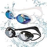 Yimidon Occhiali da Nuoto, Professionali Occhialini da Piscina Anti-Appannamento Specchio Protezione UV Impermeabile, Perfetto Regalo per Donne, Uomini e Adolescenti(Blu+Nero)