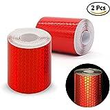2pcs 3m * 50mm de alta Intensity prismático cinta rollo de vinilo autoadhesivo de seguridad reflectante cinta adhesiva de seguridad, rojo