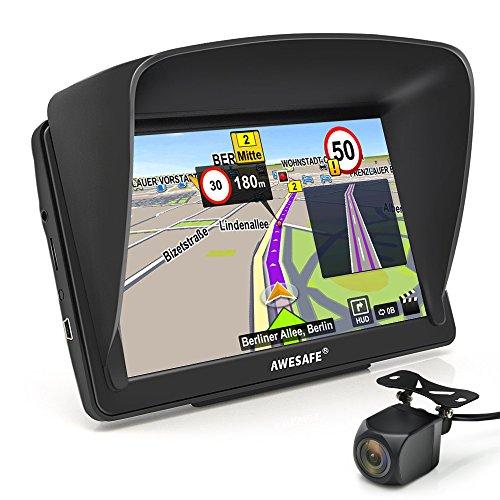 AWESAFE Navigationsgerät 7 Zoll Touchsreen 8GB/256M mit Bluetooth Lebenslang Karten Rückfahrkamera (Europa)