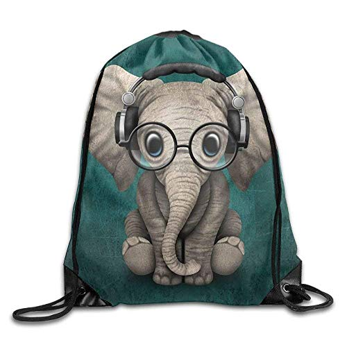 fengxutongxue Cute Baby Elephant Wearing Headphones and Glasses Drawstring Backpack Travel Bag Gym Outdoor Sports Portable Drawstring Beam Port Backpack for Girl Boys Woman Female (Taschen Baby Cole Kenneth)