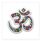 CafePress OM AUM Namaste Yoga Symbol Aufkleber quadratisch Aufkleber 3x 3, weiß, 3 x 3