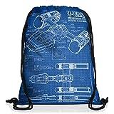 style3 Y-Wing Cianotipo Bolsa mochila bolsos unisex gymsac fotocalco azul