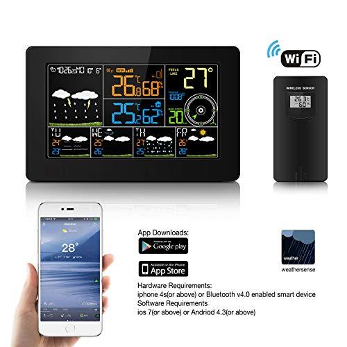 CamGO WiFi Wetterstation, WLAN Thermometer, Drahtlose Digitale Wetterstation mit Groß LCD Bildschirm, Außen-Sensor, Wettervorhersage, Windgeschwindigkeit und -richtung für zu Hause