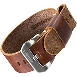 ZULUDIVER® Genuine Leather Watch Strap Pre-V USM NATO Brown 22mm