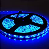 EverBright Super Brightness Blue 5M(16.4Ft) 5050 SMD 300LED Waterproof Flexible Light Strip PCB Black For Car truck Neon Undercar Lighting Kits Mall booth House decoration Stage music Coloreful lights