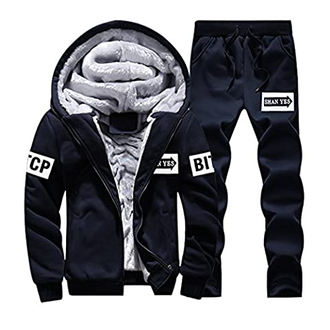 WALK-LEADER Mens Youthful Fur Lining Hoodies Tracksuit Casual Thick Coat and Trousers D/B M