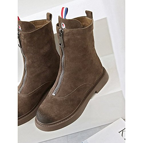 HSXZ Scarpe donna pu inverno Comfort stivali Null rotonda piatta Mid-Calf Toe Stivali / per esterni di caffè nero Coffee