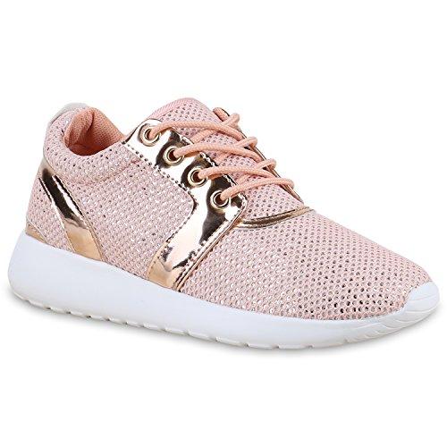 Damen Sport Neon Lauf Runners Sneakers Fitness Schnürer Prints Blumen Übergrößen Schuhe 131224 Rosa Lack Brooklyn 38 | Flandell®