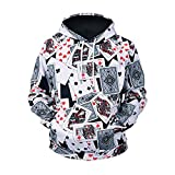 Männer Print Hoodie Card Pocket Poker Sweat Shirt Übergröße Langarm-Kapuzenshirt Pullover Top (Color : Multi-Colored, Size : XXXL)