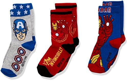 Marvel Boy's Avengers Socks, Multicoloured (Pack2), 2-3 Years (Manufacturer Size: 23/26)