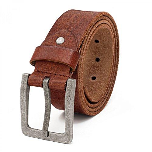 ROYALZ Antik Vintage Ledergürtel für Herren Büffel-Leder aus robusten 4mm Voll-Leder Jeans-Herren-Gürtel mit Dornenschließe 38mm, Farbe:Cognac Braun, Größe:95