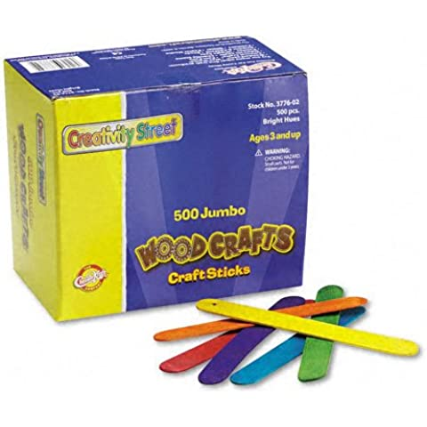 Chenille Kraft : Colored Wood Jumbo Craft Sticks, 6 x 3/4, 500 per Box -:- Sold as 2 Packs of - 500 - / - Total of 1000 Each by Chenille Kraft