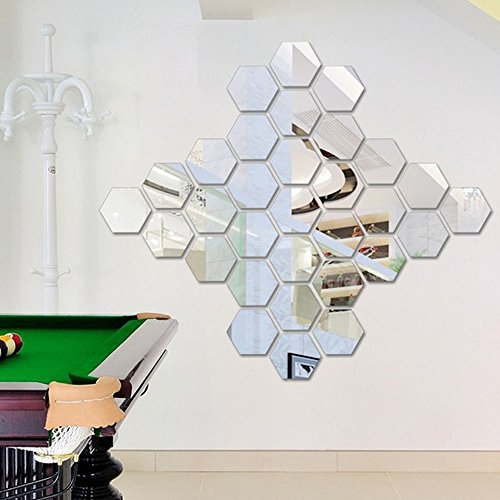 Yumimi88 12 Stücke 3D Spiegel Hexagon Vinyl Abnehmbare Wandaufkleber Aufkleber Home Decor Art Silber Dekorative Möbelfolie Wanddeko Metall Dekorative Möbelfolie