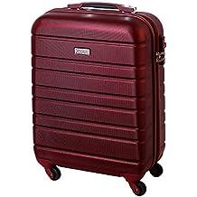 Equipaje de Mano Equipaje de Mano Cabina Maleta Trolley de rígidas para corta de viaje Estuche Business Maleta de viaje TSA–castillo (30L) Rojo Borgoña 815B