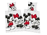 Herding Mickey + Minnie Mouse Partner Bettwäsche Doppelpack 80x80cm 135x200cm, 100% Baumwolle mit Reißverschluss
