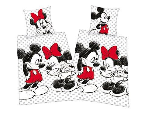 ickey + Minnie Mouse Partner Bettwäsche Doppelpack 80x80cm 135x200cm, 100% Baumwolle mit Reißverschluss ()