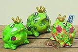 Dapo 3 x Spardosen Froschkönig im Set bunt bemalt Dekofigur Geschenkidee Sparbüchse Frosch