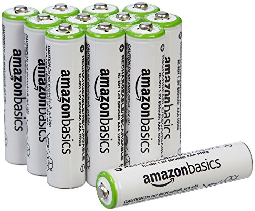 AmazonBasics AAA NiMH Precharged Rechargeable Batteries (12 Pack, 800 mAh)