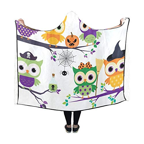 Kostüm Baby Owl Cute - JOCHUAN Decke mit Kapuze Cute Halloween Owls Orange Lila Grün Decke 60x50 Zoll Comfotable Hooded Throw Wrap