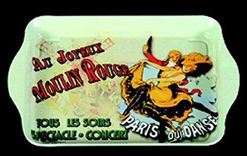 FRANCIA VINTAGE BANDEJA METAL 20x33cm AU JOYEUX MOULIN ROUGE PARIS
