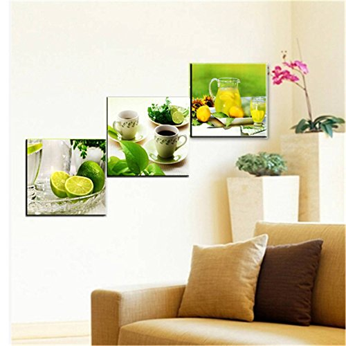 KING DO WAY 3 Panel Fruits Lemon Canvas Print On Wall Painting Artwork Home Office Art Decoration 40x40cm