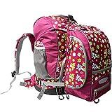 Cox Swain ergonomischer Schulranzen Schulrucksack Set 2 tlg. + Helmhalter und Regencape, Colour: Purple Flower