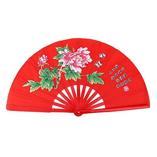 Eventail Chinois Eventail Bambou à Danse Tai Chi Kung Fu Ventilateurs Traditionnelle Motif de Fleurs en Tissu Décoration de Maison Cadeau de Mariage(Rose)