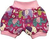 simply-sweet-baby Kurze Babyhose Pumphose Shorts Bunte Elefanten Fuchsia mit rosa Bündchen (62)