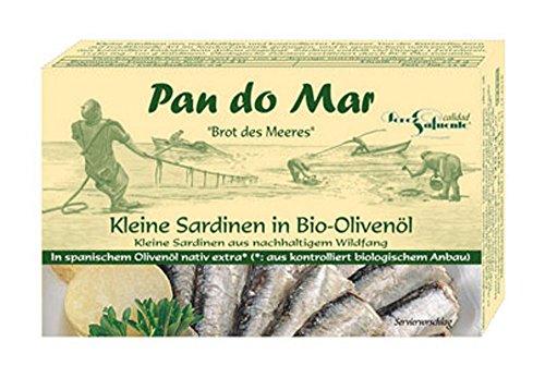 10er-VE Kleine Sardinen in Bio Olivenöl 120g Pan do Mar