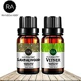 Ensemble d'huiles essentielles de bois de santal Vetiver Now Aromatherapy 100% d'huiles pures de qualité thérapeutique - Lot de 2