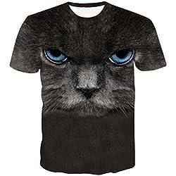 Rawdah T-Shirt à Col Rond Manches Courtes Impression Étoiles Chat Animaux T-Shirts Occasionnels Drôles d'impression 3D Printemps Été à Supérieur Casual Top pour Hommes (XL, H)
