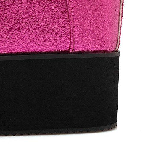 AllhqFashion Damen Rund Zehe Hoher Absatz Weiches Material Niedrig-Spitze Eingelegt Stiefel Rosa