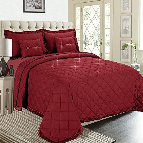 Fertige gesteppte Bettdecke, Imperial Zimmer bieten überlegene Qualität Reversible 5 piece Diamond Tröster-Set (Burgundy   Doppelbett) Bettwäsche-Sets, elegante moderne Kollektion für Schlafzimmer: 1 Tagesdecken, 2 Kissen und 2 Dekorative Kissen