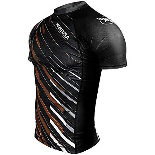 HAYABUSA Metaru Charged Short Sleeve Rashguard Black, Negro/marrón, X-Large