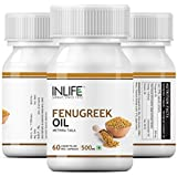 INLIFE Fenugreek Seed Oil Supplement 500 mg - 3 Pack 60 Vegetarian Capsules Each