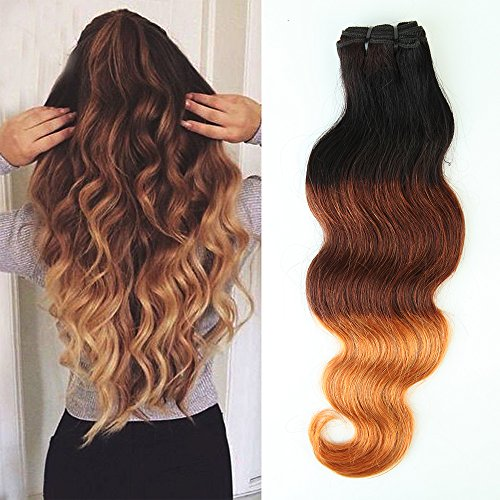 My-lady 45cm extension capelli veri tessitura shatush ondulati matassa 100g/bundle ombre umani naturali vergini brasiliani unprocessed body wave
