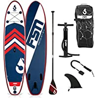 FSN Tabla Hinchable de Paddle Surf Ambition 10'4 - Incluye Remo telescópico, Bomba, Leash, Aleta extraíbles y Bolsa de Transporte - Standup Paddle