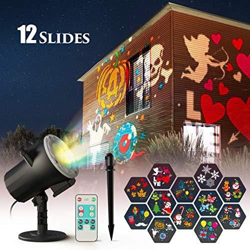 CACAGOO Luces de Proyector de Navidad de Halloween, proyector de 12 diapositivas, interior/exterior IP65 Impermeable Iluminación exterior Proyector de luz navideña