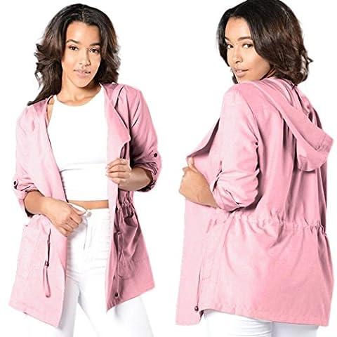 Femme Capuche, Feixiang exclusif Customizatio Femme chaud à capuche mode Long Manteau Veste Trench coupe-vent Parka pour chien XL rose