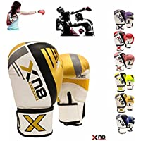 Xn8 Sports Moti Hide Leather Boxing Gloves Muay Thai MMA Sparring Fight Kickboxing Training Gloves