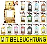 KLG-OFOS-GEFLAMMT Holzlaterne, mit Beleuchtung 220V, Laterne aus Holz aus Holz geflammt gebrannt amazon schwarz - natur Glasvitrine, Vitrine, Sammlerbox Antik - Look