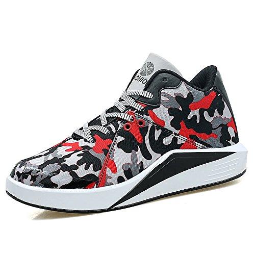 HILOTU Herrenmode Sneaker Flache Ferse Leinwand Lace up Komfortable Relax Schuhe (Color : Black-Red, Größe : 39 EU) - Flache Ferse Leinwand