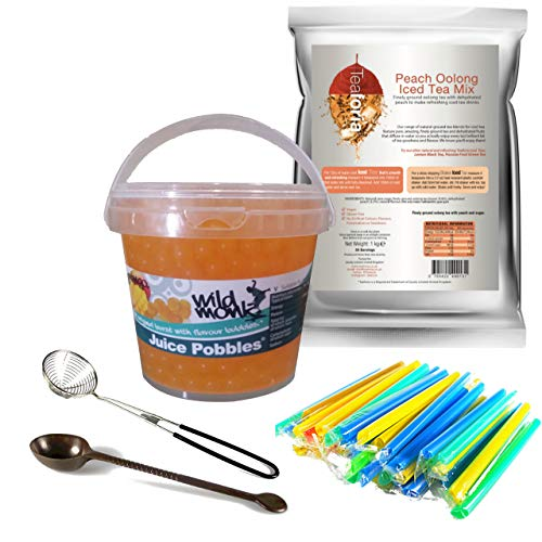 Wild Monk Exotic Express Kit. Peach Iced Tea Powder, Mango Juice Pobbles, Bubble Tea Chunky Straws and 2 Free Tools! Great for Making The Perfect Bubble Tea at Home!
