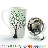 TEA SONG Tazza da tè in Ceramica (510ML) con infusore e Coperchio da Viaggio Teaware con Filtro Verde, Tazza di tè Steeper Maker, colino per tè Sfuso, Set diffusore per Regalo Amante del tè