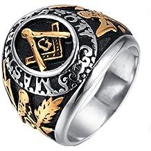Para hombre acero inoxidable pirámide Masónica anillo banda plata oro ...